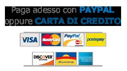 Paga adesso con carta di credito o Paypal