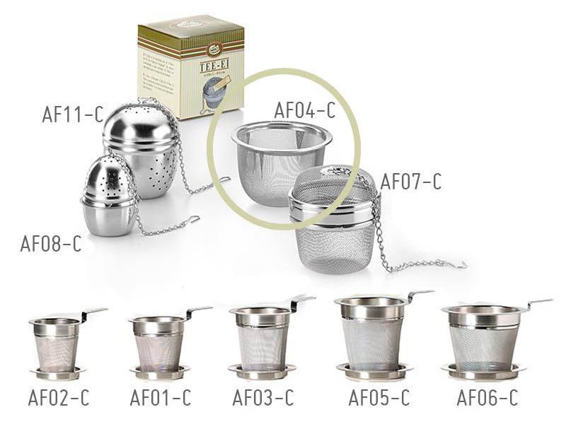 Filtro colino da tè in acciaio formato coppa