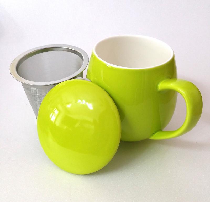 Tisaniera con tappo porcellana e filtro acciaio Zaira Verde 0,35 lt