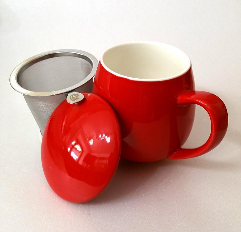Tisaniera con tappo porcellana e filtro acciaio Zaira Rosso 0,35 lt