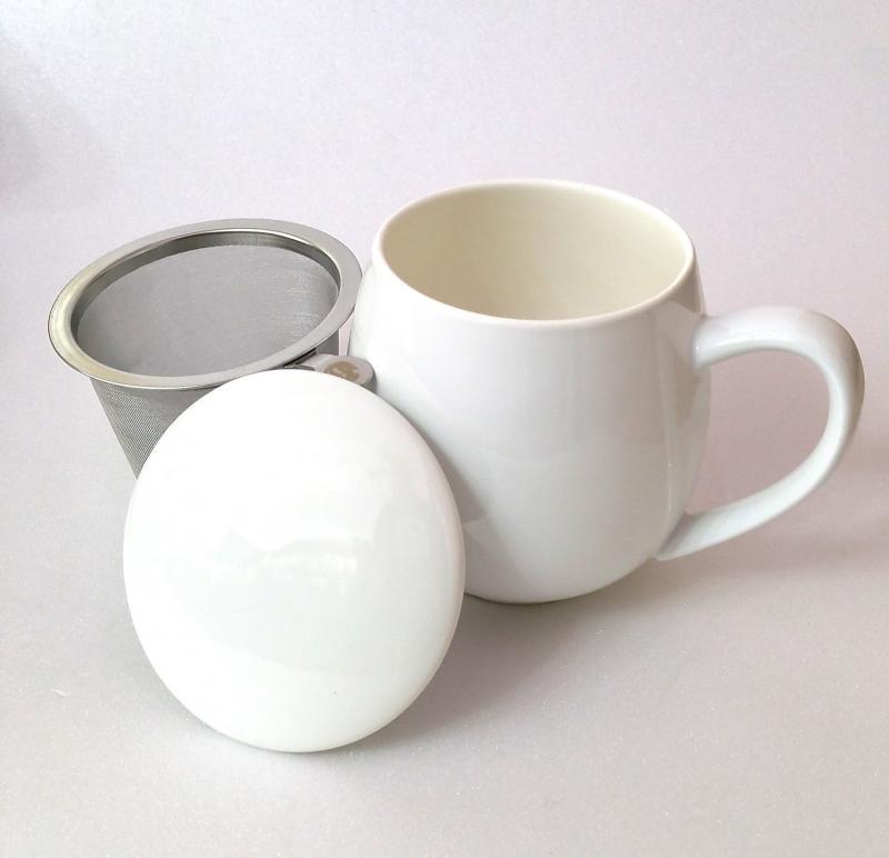 Tisaniera con tappo porcellana e filtro acciaio Zaira Bianca 0,35 lt