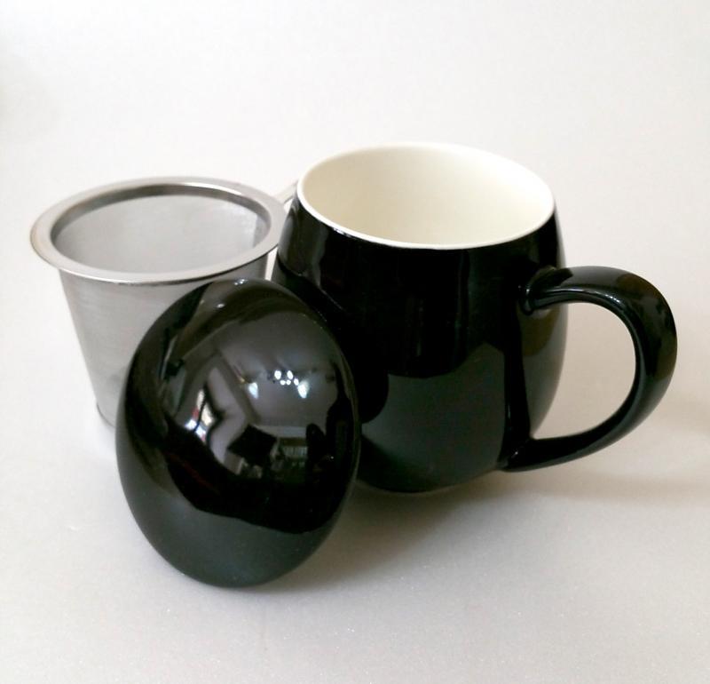 Tisaniera con tappo porcellana e filtro acciaio Zaira Nera 0,35 lt