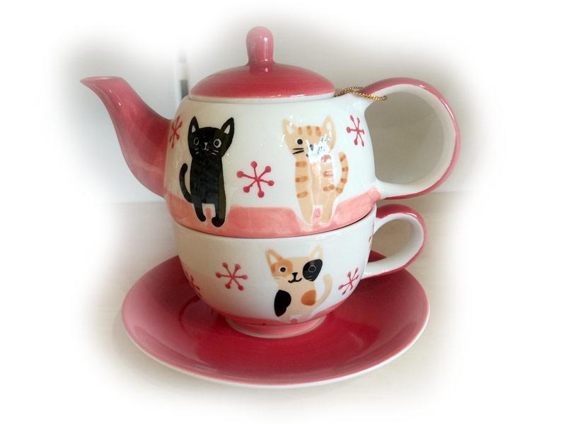 Teiera con tazza e piatto sottotazza in ceramica Marta e Teresa