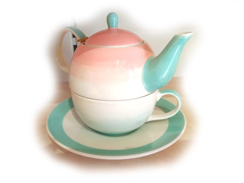 Teiera con tazza e piatto sottotazza in ceramica Giardino di oriente