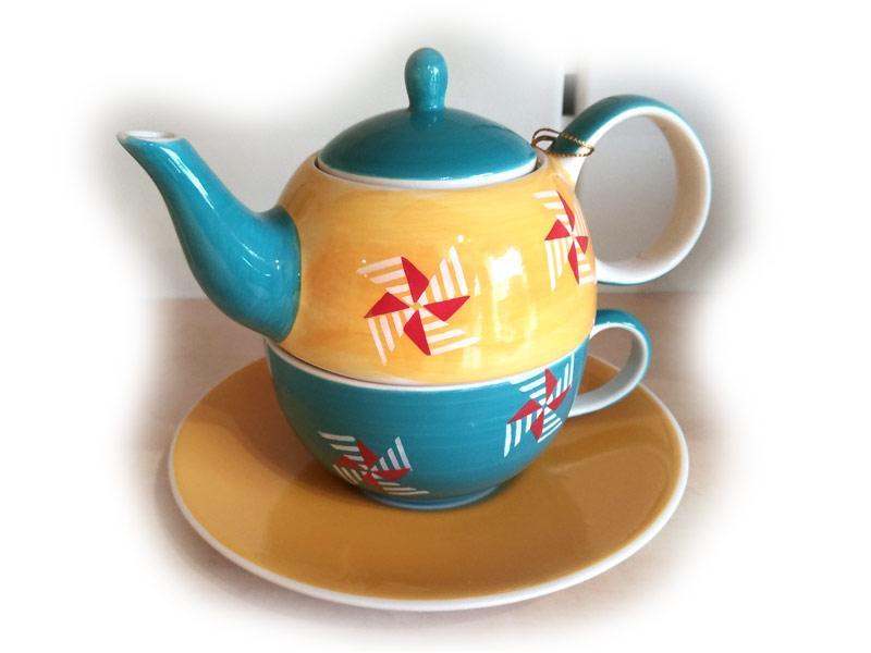 Teiera con tazza e piatto sottotazza in ceramica Soffio di Primavera