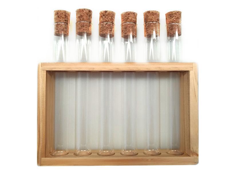 Set Fiale vetro con supporto legno