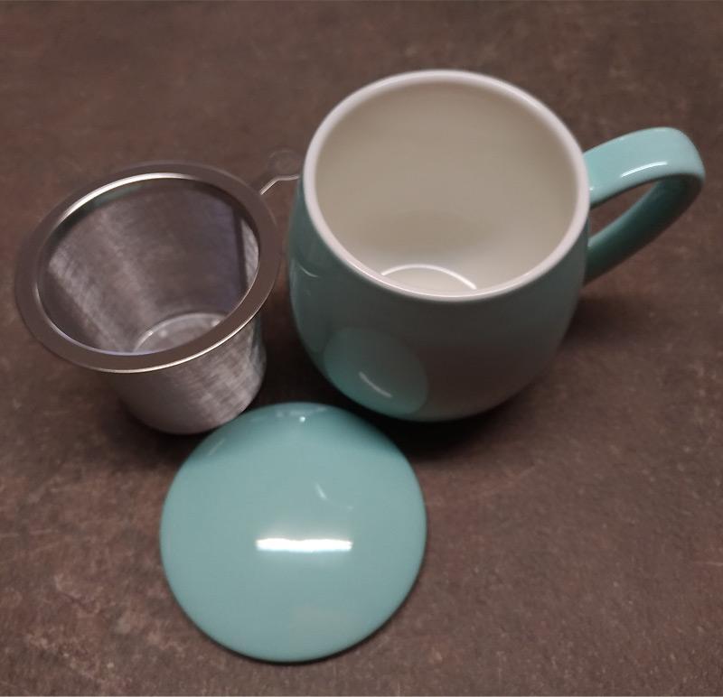 Tisaniera con tappo porcellana e filtro acciaio Zaira turchese