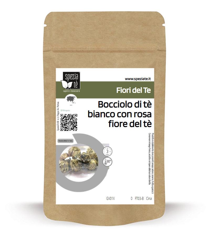 Bocciolo di calendula argentata con rosa per rituale del fiore del tè in Busta richiudibile Salva Fragranza