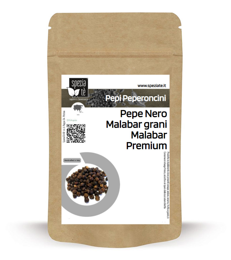 Pepe Nero Malabar grani Malabar Premium in Busta richiudibile Salva Fragranza